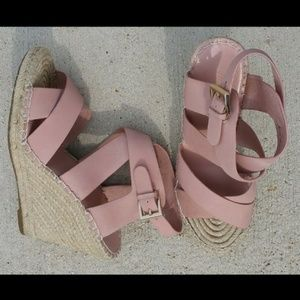 Joie Pink Leather Size 9 10 40 Espadrille Wedge